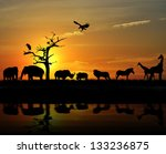 Stock photo african wild animals silhouettes against a sunset 133236875
