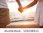 summer couple holding hands at... | Shutterstock . vector #133238312