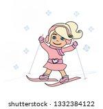 sweet girl skiing   doodle...   Shutterstock .eps vector #1332384122