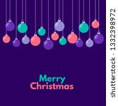 christmas baubles on purple... | Shutterstock .eps vector #1332398972