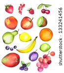 various  fruits  crayon | Shutterstock . vector #133241456