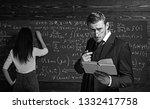 strict teacher in glasses... | Shutterstock . vector #1332417758