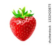 one whole strawberry. fresh red ... | Shutterstock .eps vector #1332420875