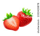 whole strawberry and sliced... | Shutterstock .eps vector #1332420878