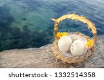 Small Basket With Two Easter...
