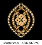 golden elements in baroque ... | Shutterstock . vector #1332537398
