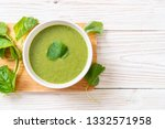 spinach soup bowl   healthy...   Shutterstock . vector #1332571958