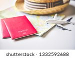 passport placed on the map... | Shutterstock . vector #1332592688