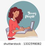 young girl using laptop and... | Shutterstock .eps vector #1332598082
