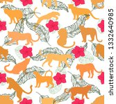 seamless pattern of hand drawn... | Shutterstock .eps vector #1332640985