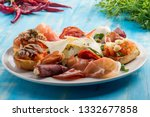 fresh appetisers table with... | Shutterstock . vector #1332677858