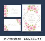 floral wedding invitation with... | Shutterstock .eps vector #1332681755