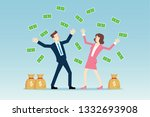 businessmen throwing money in... | Shutterstock .eps vector #1332693908