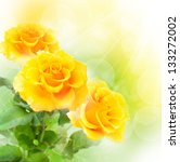 Yellow Roses On Colorful...