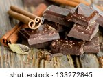 broken chocolate bar and spices ... | Shutterstock . vector #133272845