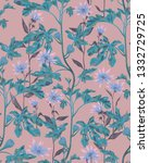 botanical seamless pattern with ... | Shutterstock . vector #1332729725