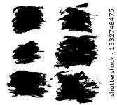 ink vector dry brush frame set. ... | Shutterstock .eps vector #1332748475