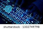 closeup of hands using a... | Shutterstock . vector #1332749798