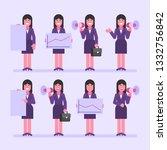 business woman brunette holds... | Shutterstock .eps vector #1332756842