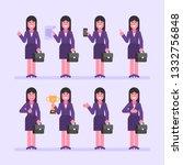 business woman brunette holds... | Shutterstock .eps vector #1332756848
