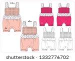 vector baby girl romper | Shutterstock .eps vector #1332776702