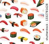 seamless pattern japanese food... | Shutterstock . vector #1332781628