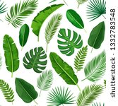 tropical leaves seamless... | Shutterstock . vector #1332783548
