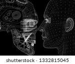 robot and human head design  ... | Shutterstock . vector #1332815045