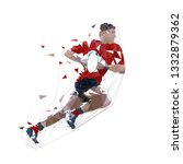 rugby player running with ball  ... | Shutterstock .eps vector #1332879362