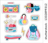 pop art cute set of different... | Shutterstock .eps vector #1332899312