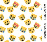 emoticon and emoji pattern ... | Shutterstock .eps vector #1332929525