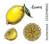 lemon hand drawn illustration.... | Shutterstock . vector #1332948062