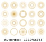 retro gold sun burst shapes.... | Shutterstock .eps vector #1332966965