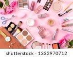 female beauty items on pink... | Shutterstock . vector #1332970712