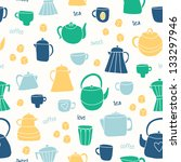 different tea and coffee cups ... | Shutterstock .eps vector #133297946