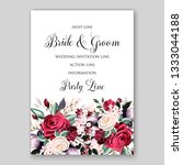 rose floral wedding invitation... | Shutterstock .eps vector #1333044188