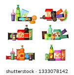 unhealthy food and drinks set.... | Shutterstock .eps vector #1333078142