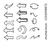 arrows doodles set. handmade... | Shutterstock .eps vector #1333098872