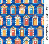 seamless pattern beach huts ... | Shutterstock .eps vector #1333135418