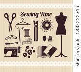 vector sewing equipment and...   Shutterstock .eps vector #1333222745