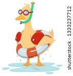 a yellow duck stands soaking... | Shutterstock .eps vector #1333237712