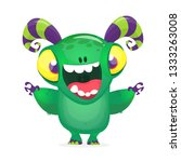 funny cartoon monster excited... | Shutterstock .eps vector #1333263008