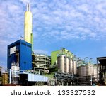 Modern waste and industrial waste incineration plant - stock photo