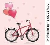 bicycle with balloons | Shutterstock . vector #1333317692