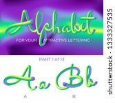 3d vector alphabet with rounded ... | Shutterstock .eps vector #1333327535
