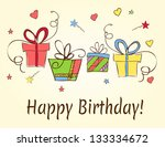 birthday card hand drawn with... | Shutterstock .eps vector #133334672