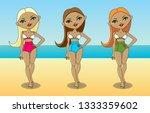 three walking girls in bathing... | Shutterstock .eps vector #1333359602