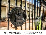 Details of the Sydney Mint fence the oldest public building in Sydney written the name and 1855 year in NSW Australia