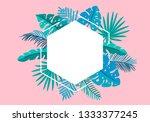 summer floral frame tropical... | Shutterstock . vector #1333377245