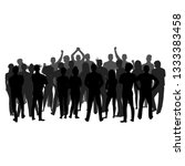 a crowd of people stands with... | Shutterstock .eps vector #1333383458